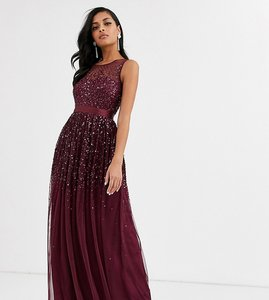 Read more about Amelia rose bridesmaid maxi dress with scattered embellishment in wine