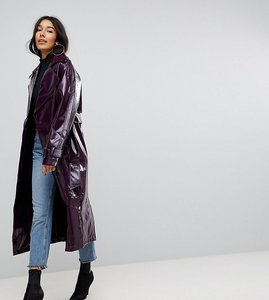Read more about Asos tall oversized mac in vinyl - burgundy