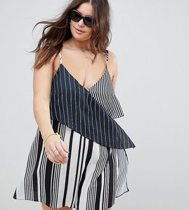Read more about Asos design curve mixed stripe layered beach dress - black white