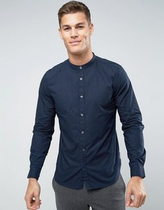 Read more about French connection slim grandad shirt with dot print - navy