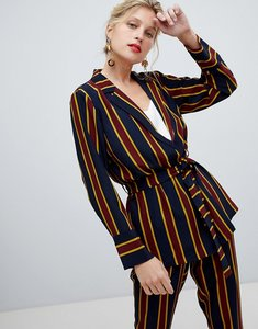 Read more about Y a s bold stripe tie waist blazer - multi