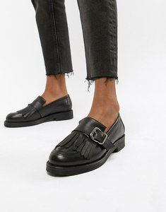Read more about Office fisher chunky black leather fringed buckle loafers - black leather