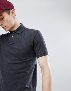 Read more about Polo ralph lauren slim fit pique polo player logo in charcoal marl - charcoal