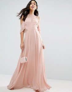 Read more about Asos cold shoulder kate lace maxi dress - nude