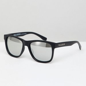 Read more about Pull bear square sunglasses in black with silver mirrored lenses - black
