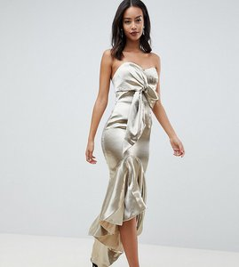 Read more about Jarlo tall wrap front bardot midi dress with fluted high low hem - gold metallic
