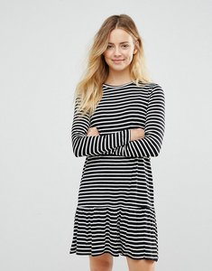 Read more about Brave soul stripe drop hem dress - black cream