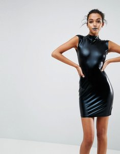 Read more about Asos halloween pu high neck mini dress with open back - black