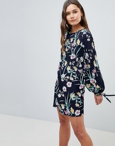 Read more about Qed london floral shift dress with tie detail - navy