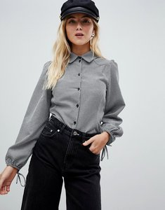 Read more about Nobody s child tie sleeve shirt in gingham - black white gingham