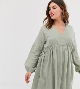 Read more about Asos design curve v front v back mini smock dress in texture with long sleeves