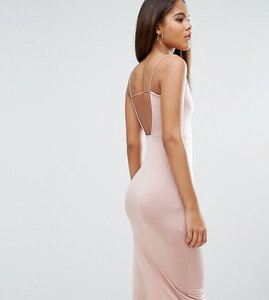 Read more about Asos tall slinky midi dress with strappy tie back - champagne