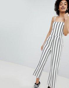 Read more about Bershka stripe wide leg jumpsuit in cream - ecru