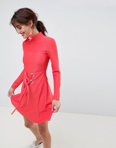 Read more about Asos premium rib mini skater dress with high neck and corset waist - red