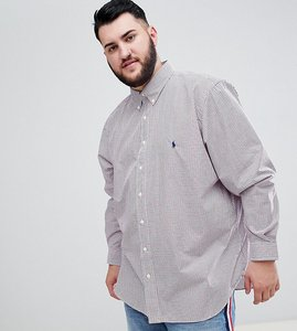 Read more about Polo ralph lauren big tall small check poplin shirt player logo button down in red white blue - red