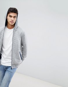 Read more about Jack jones core zip through hoodie with quilt detail - light grey