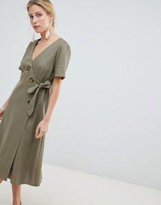Read more about Asos design wrap midi dress with button detail in linen - khaki