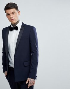 5c2d09a824 Read more about Asos skinny tuxedo suit jacket in navy with black satin  lapel - navy