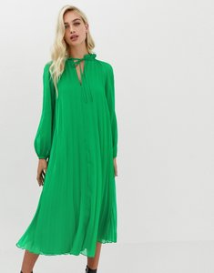 Read more about Asos design pleated trapeze midi dress with tie neck