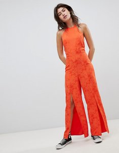Read more about Nobody s child high neck cami jumpsuit with split legs in jacquard - red jacquard