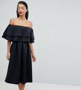 Read more about Asos tall ruffle off shoulder midi dress - black