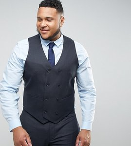 Read more about Asos plus wedding skinny suit waistcoat in blue micro woven texture - navy
