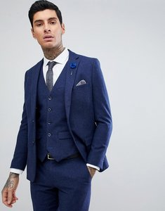 Read more about Harry brown blue flannel slim fit wool blend suit jacket - blue