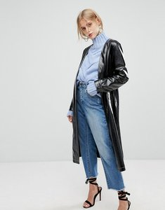 Read more about Current air vinyl long line jacket with belt - black