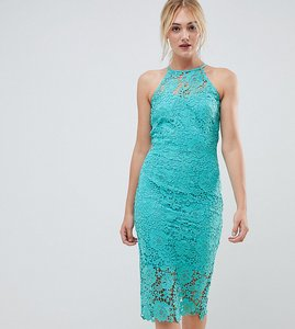 Read more about Paper dolls tall sleeveless high neck crochet lace dress - turquoise