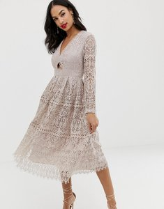 Read more about Asos design lace long sleeve prom midi dress with cut out