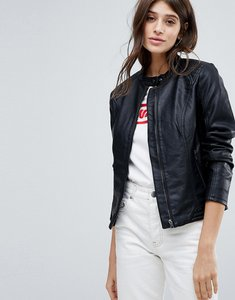 Read more about Jdy collarless leather look jacket - black