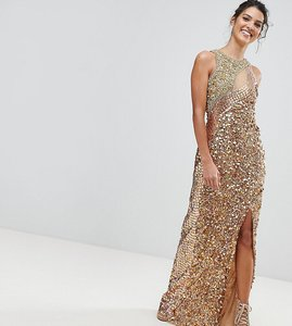 Read more about A star is born three tone maxi dress with fishtail - multi gold