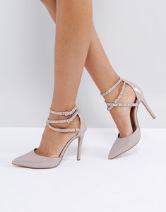 Read more about Asos portmore studded pointed heels - nude patent