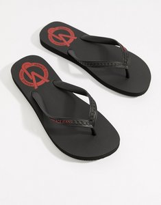 Read more about Versace jeans logo flip flops in black - black