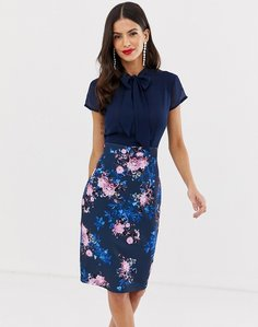 Read more about Paper dolls capped sleeve printed midi pencil dress with pussy bow detail