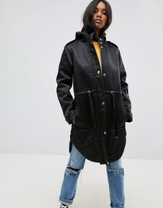 Read more about Asos bonded parka with borg lining - black