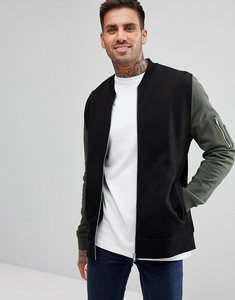Read more about Asos jersey bomber jacket with contrast sleeves and ma1 pocket in black - black khaki
