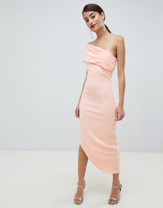 Read more about City goddess one shoulder dress with asymetric hem - blush pink