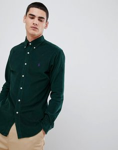 Read more about Polo ralph lauren slim fit fine cord shirt player logo button down in green - college green