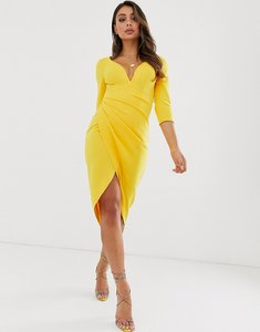 Read more about Laced in love wrap midi scuba dress in yellow