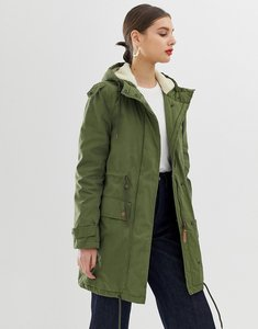 Read more about Parka london abigaile borg lined parka coat - olive