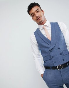 Read more about Harry brown wedding wool blend blue donegal skinny fit curved waistcoat - blue