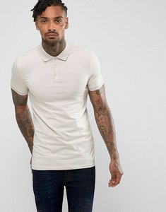 Read more about Asos extreme muscle polo in jersey in beige - fusilli