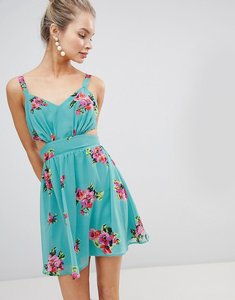 Read more about Asos design cut out mini dress in green floral print - green floral print