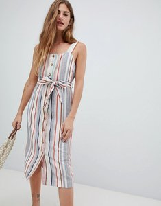 Read more about New look linen stripe button through dress - cream pattern
