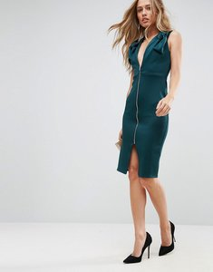 Read more about Asos deep plunge bow front midi bodycon dress - forest green