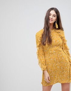 Read more about Ax paris frill long sleeve skater dress - yellow
