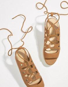 Read more about Aldo suede tie up flatform espadrille sandals - brown suede