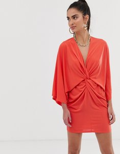 Read more about Flounce london wrap front kimono satin mini dress in rust