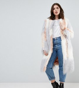 Read more about Asos curve patched faux fur mongolian coat - pink